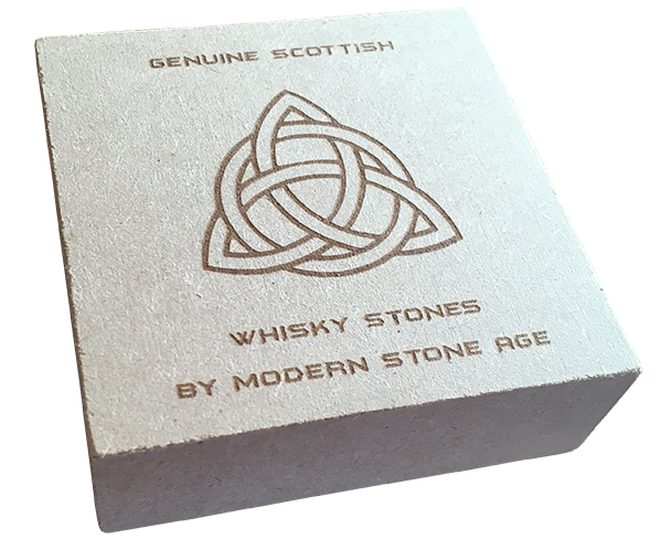 Our sets of Scottish drinks stones are supplied in a hand-made presentation box - containing six stones in a muslin draw-string bag and instructions on how to use the stones.