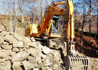 Excavator sorting and loading stone